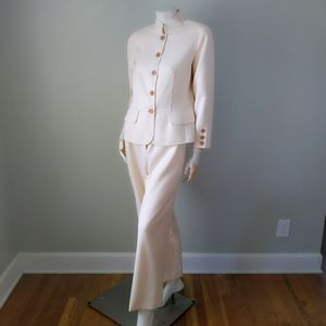 Vtg Custom Oscar de la Renta Ivory Wool Pantsuit M